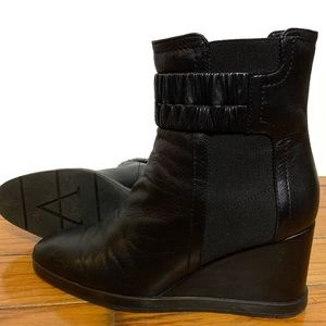 Aquatalia Wedge Ruched Leather Ankle Boots